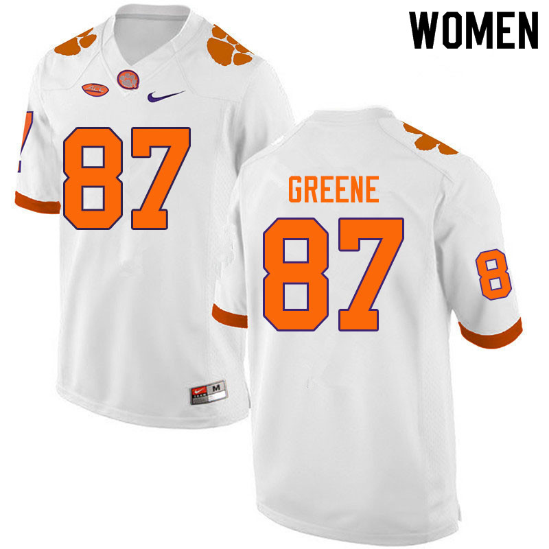 Women #87 Hamp Greene Clemson Tigers College Football Jerseys Sale-White